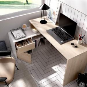 Mesa escritorio ROX color blanco/natural, grafito/natural o blanco 92x139x75 cm / 51x200-230x75 cm