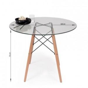 Mesa de cocina o comedor redonda TOWER VINTAGE 100 sobre de cristal de 100 cm y pie central tipo Eames